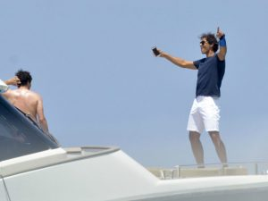 Nadal partying on a boat