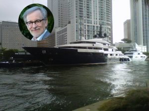 Spielberg 's large yacht docked