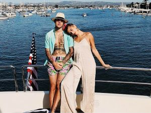 Justin Bieber and Hailey Bieber aboard yacht