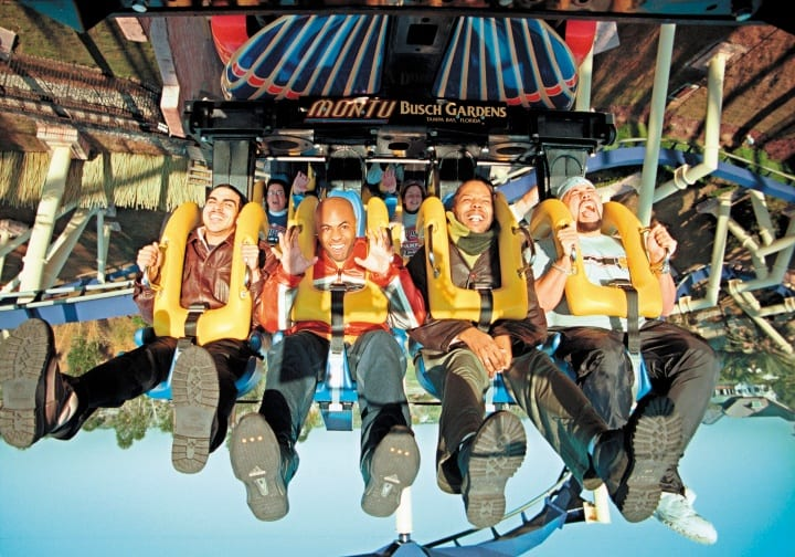 "The Budweiser ""Whassup?!"" actors Scott Brooks, Paul Williams, Fred Thomas and Puerto Rock ride Busch Gardens Tampa Bay''s Montu in this undated photo in Tampa, FL."