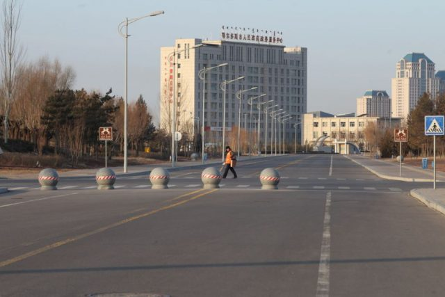 Empty street in Kangbashi district, Ordos city, Inner Mongolia