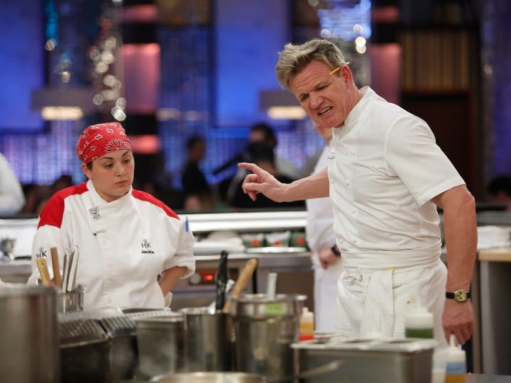 HELL'S KITCHEN: L-R: Contestant Jackie and Gordon Ramsay in the all-new 16 Chefs Compete episode of HELLS KITCHEN airing Friday, Jan. 29 (9:00-10:00 PM ET/PT) on FOX