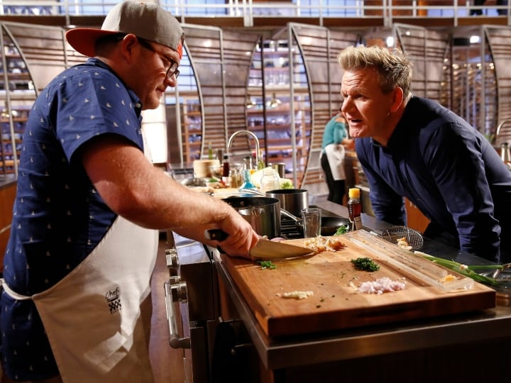 MASTERCHEF: L-R: Contestant Jeff and host / judge Gordon Ramsay in the all-new, two-hour In A Pinch/Gordons Game Of Chicken episode of MASTERCHEF airing Wednesday, Aug. 23 (8:00-10:00 PM ET/PT) on FOX