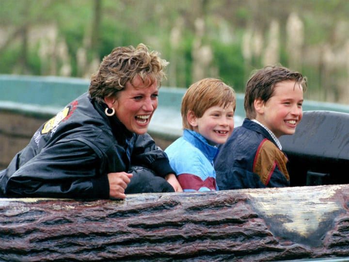 diana harry and william at theme park
