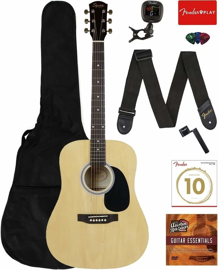 Fender Squier Dreadnought Acoustic Guitar - Learn-to-Play Bundle, Amazon