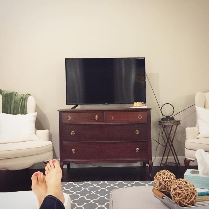 television, sitting, feet up