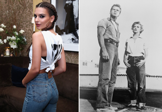 emily ratajkowski marilyn monroe and james dean wearing levis