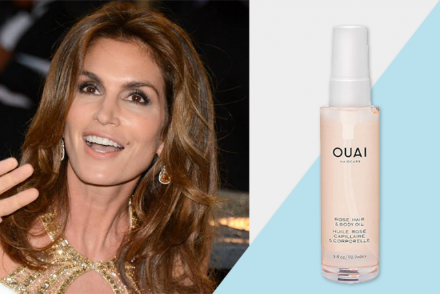 celebrity favorite products, Cindy Crawford, OUAI Rose Hair and Body Oil