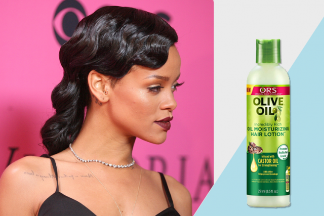 Rihanna celebrity favorite beauty products, ORS olive oil moisturizing hair lotion