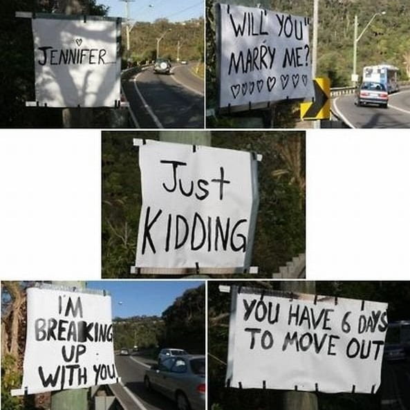 signs on the highway, getting dumped