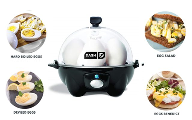 Dash DEC005BK black Rapid 6 Capacity Electric Cooker for Hard Boiled, Poached, Scrambled Eggs, or Omelets with Auto Shut Off Feature