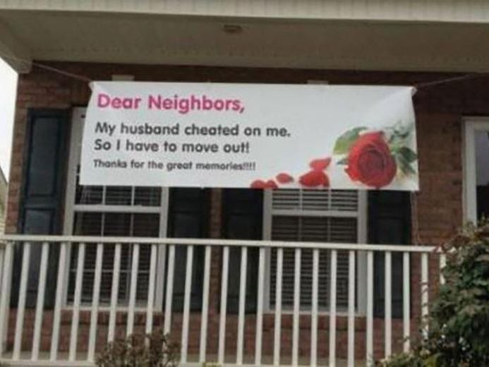 neighbor, sign, thanks for the memories