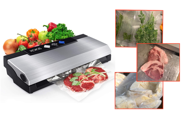 KOIOS Vacuum Sealer Machine, 80Kpa Automatic Food Sealer with Cutter for Food Savers, 10 Sealing Bags (FDA-Certified), With Up To 40 Consecutive Seals, Dry & Moist Modes, Compact Design