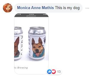 comment, Facebook, dogs on beer cans