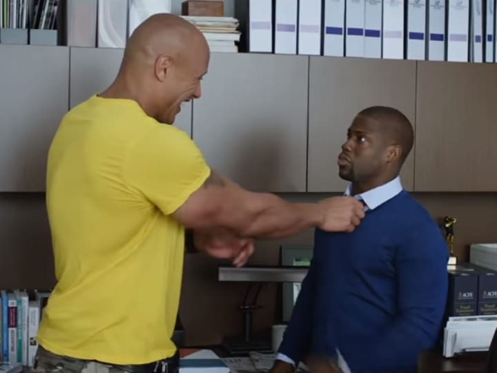 Kevin Hart, won't kiss a man, Dwayne Johnson