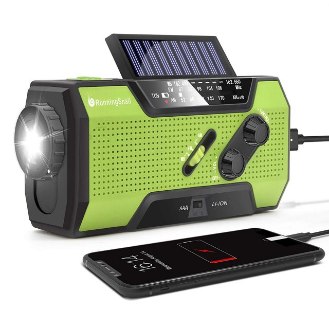 RunningSnail Solar Crank NOAA Weather Radio, Amazon