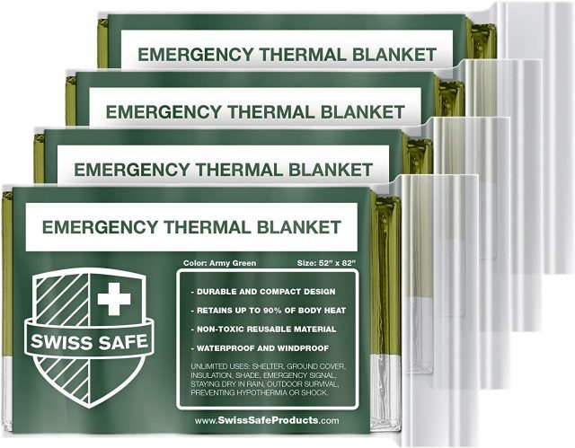 Swiss Safe Emergency Mylar Thermal Blankets (4-Pack) + Bonus Signature Gold Foil Space Blanket: Designed for NASA, Outdoors, Hiking, Survival, Marathons or First Aid, Amazon