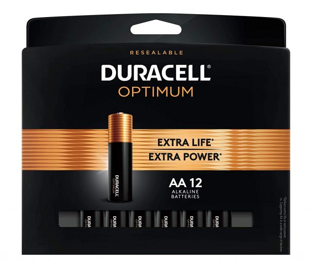 Duracell Optimum 1.5V Alkaline AA Batteries - Long Lasting, Double A Battery with Convenient, Resealable Package - 12 Count, Amazon